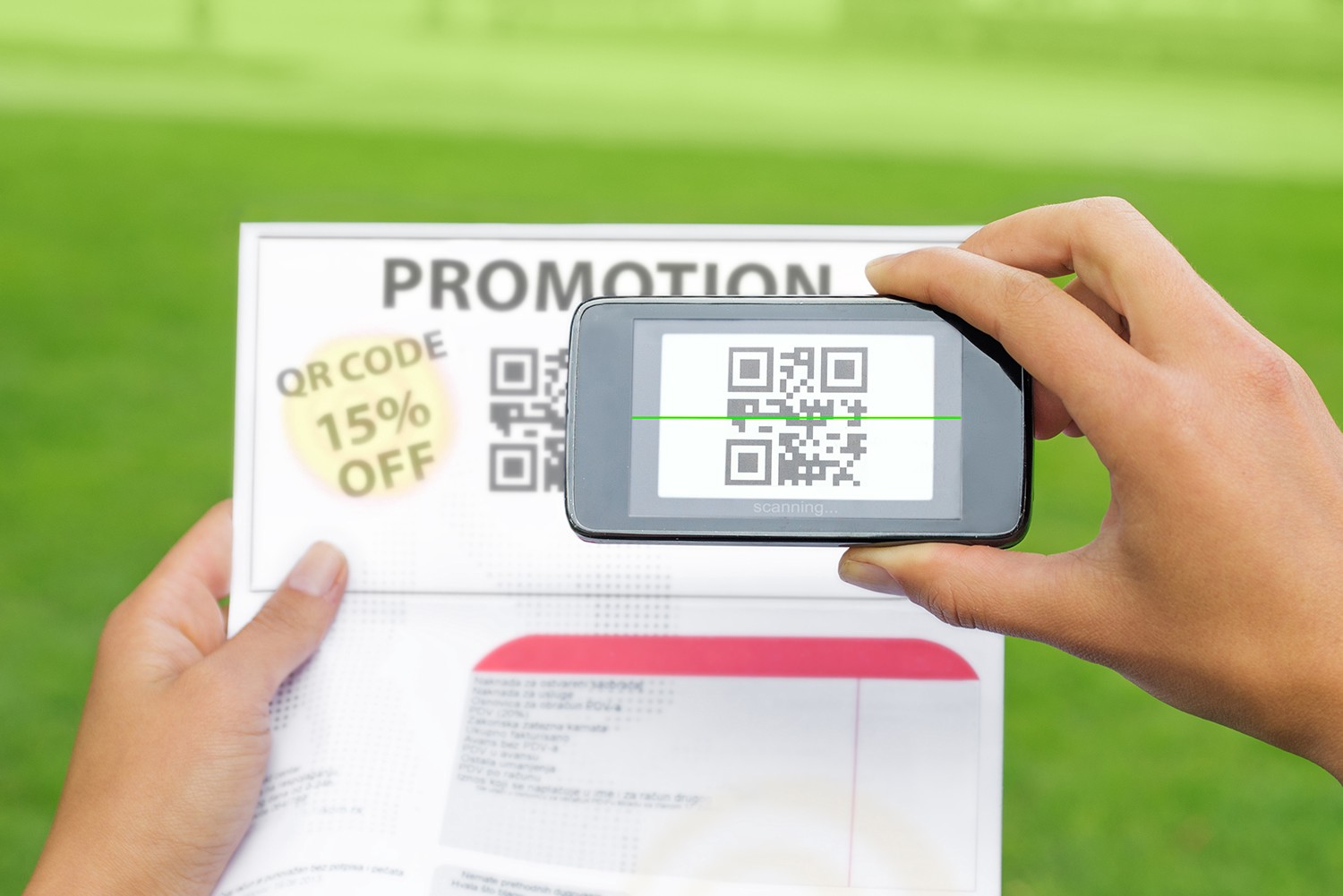 Phone scanning a promotion on QR