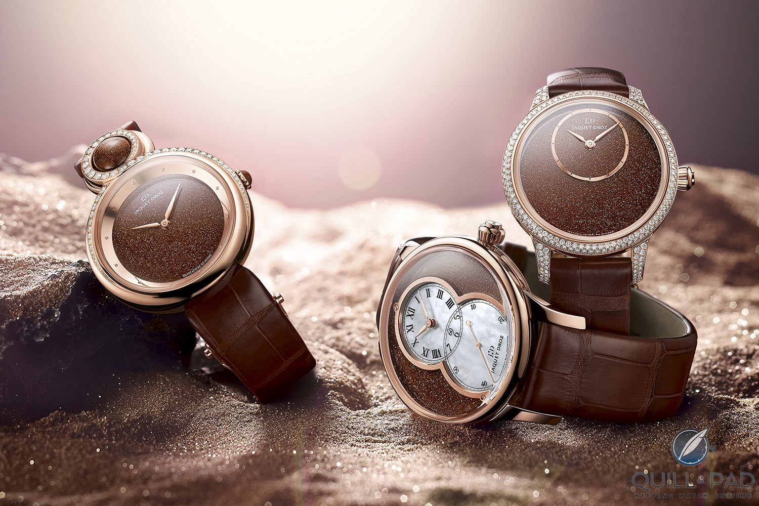 Trio of Jaquet Droz Sunstone watches from 2015: (L to R) Lady 8, Grande Seconde Cerclée, Petite Heure Minute 35 mm