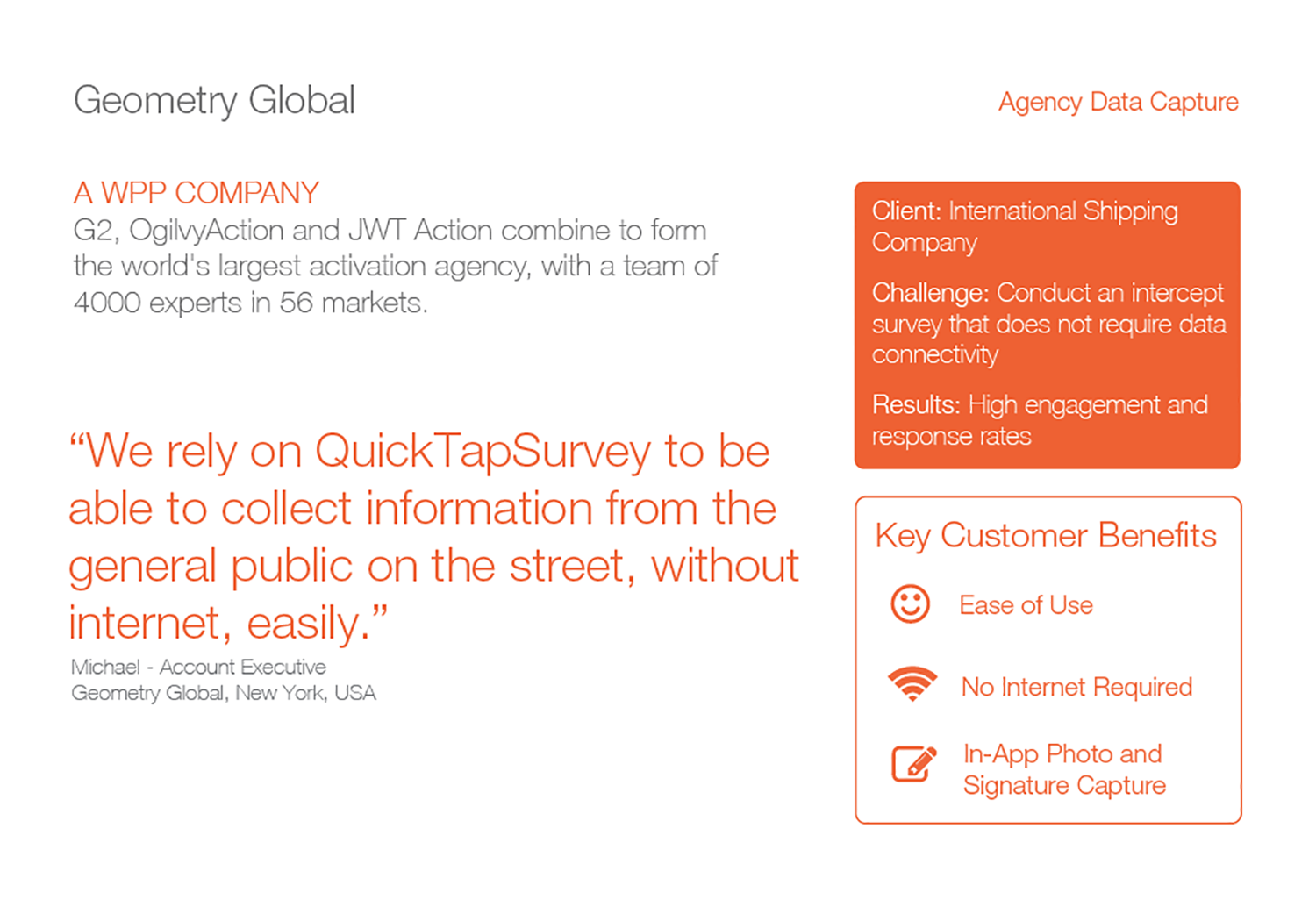 Geometry Global uses QuickTapSurvey