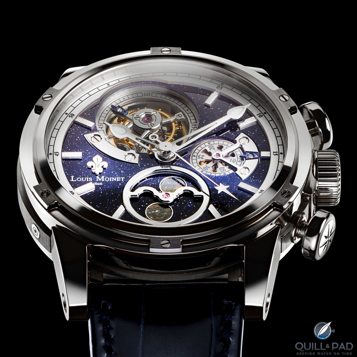 AstroMoon by Louis Moinet with a beautiful and complicated aventurine dial
