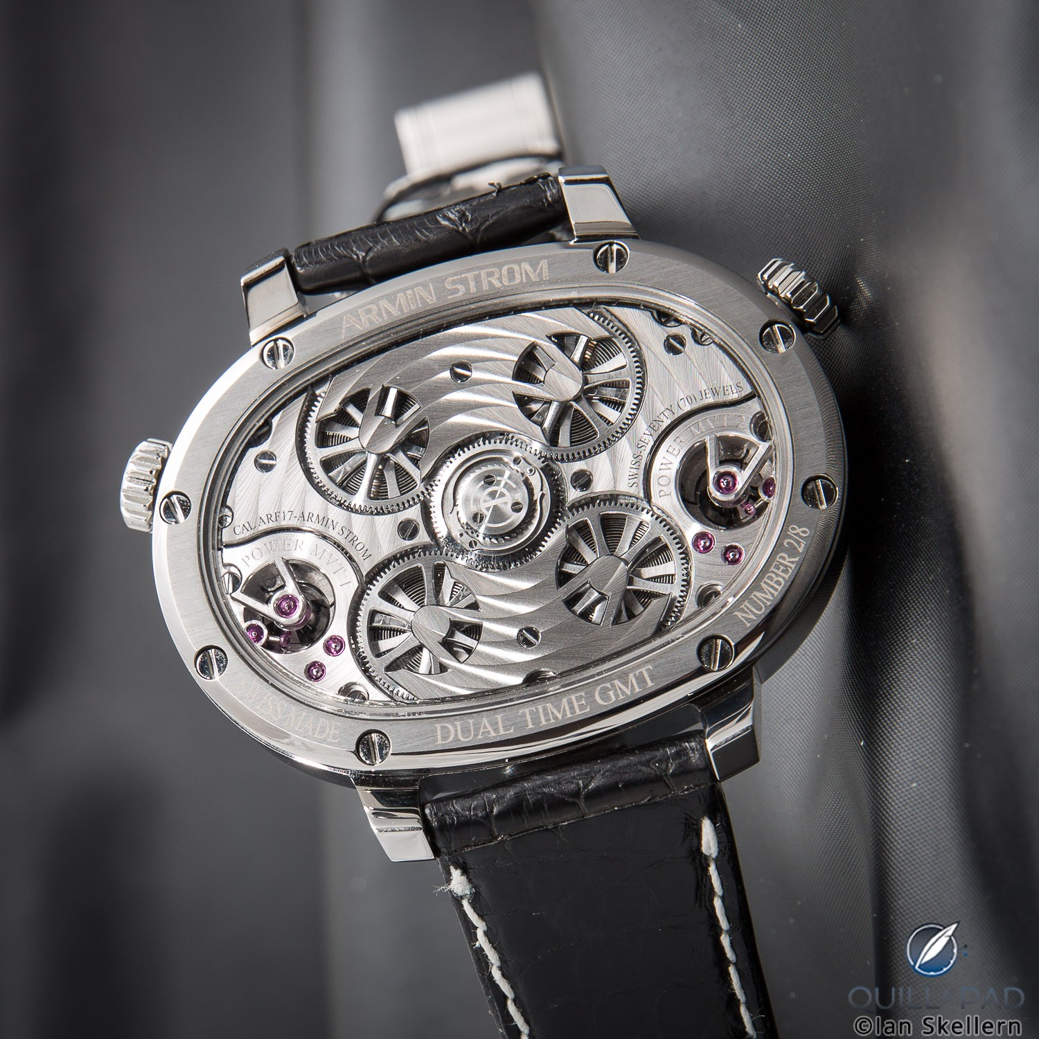 View through the display back of the Armin Strom Masterpiece 1 Dual Time Resonance on the wrist