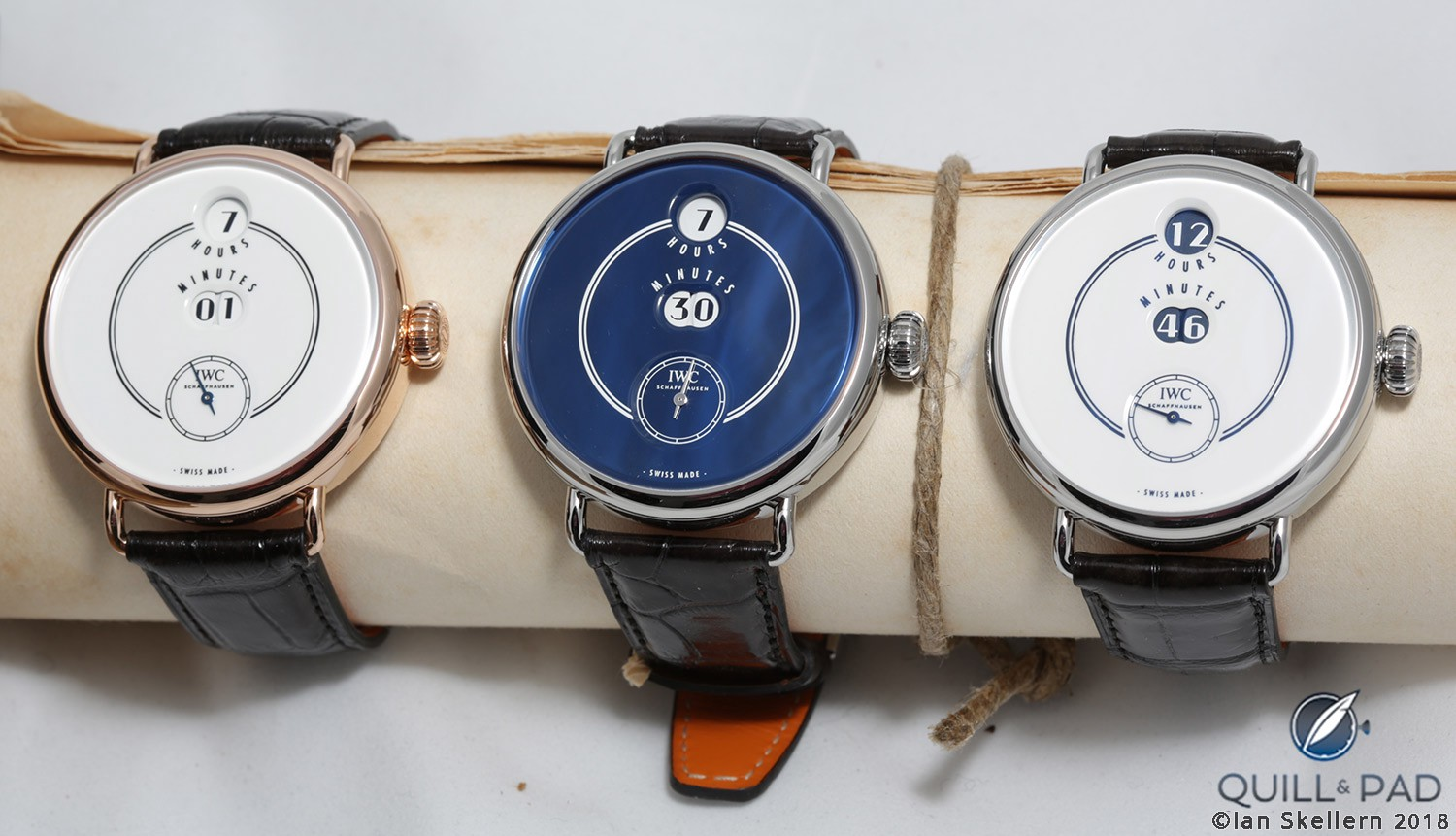 3 versions of the IWC Tribute to Pallweber Edition 150 Years