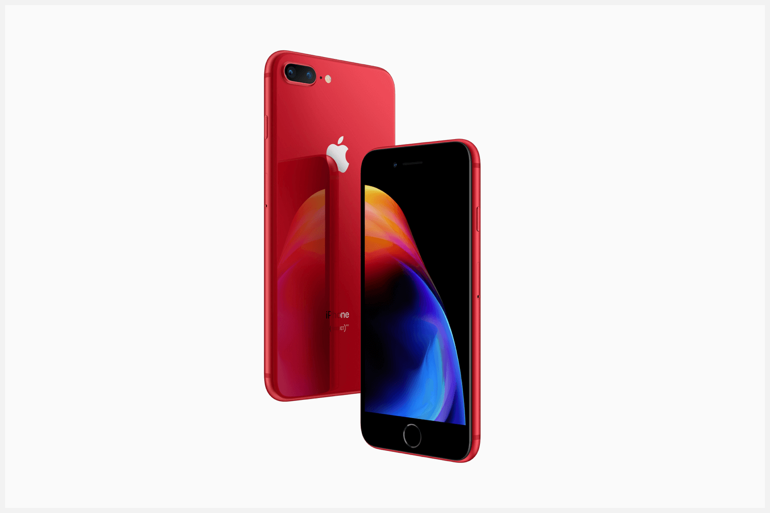 The front and back of Apple's Product(RED) iPhone.