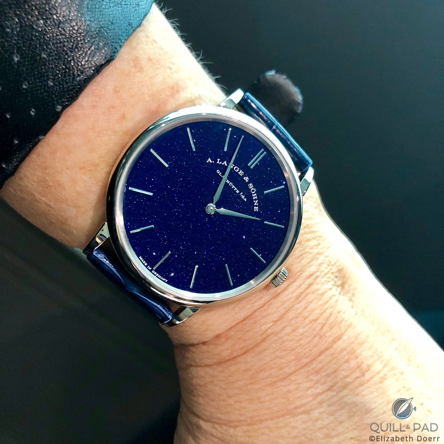 Lange & Söhne introduced a very surprising model at SIHH 2018: the Saxonia Thin with aventurine dial.