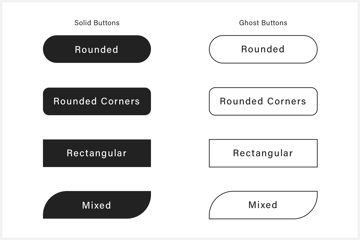 Several solid and ghost buttons that illustrate different button shapes.