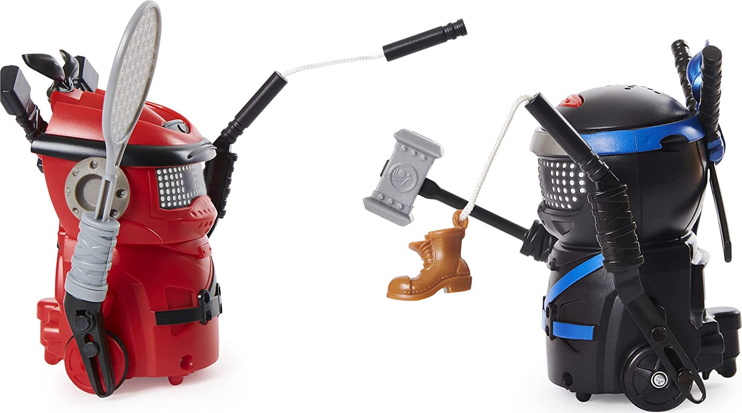 A red bot fighting a black bot with little items