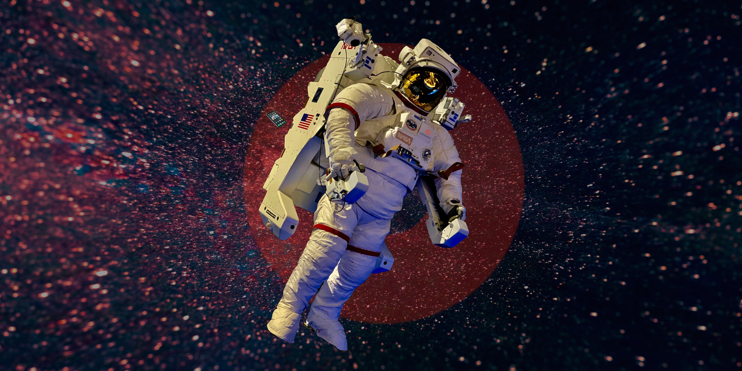 Astronaut, mobile and space background from Unsplash. Translucent logo of OutSystems behind the astronaut.