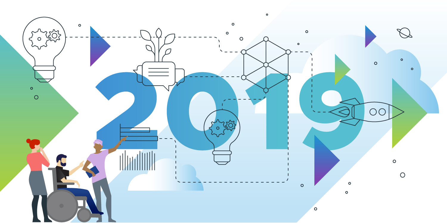 "An illustration of ""2019"" with various objects and persons surrounding it"