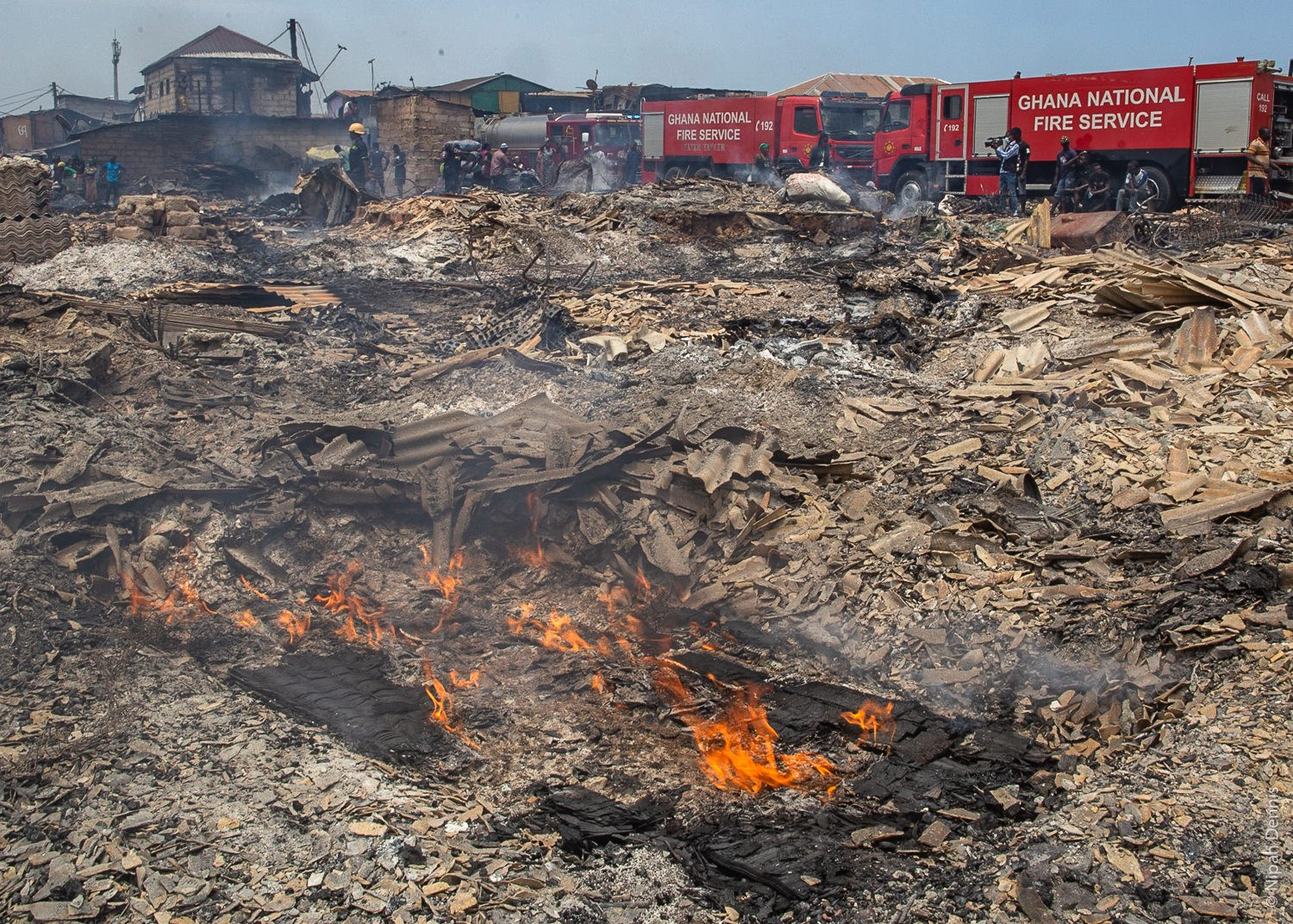 Homes burned to the ground in Agbogbloshie, Accra, Ghana. April 7, 2020. Photo by Nipah Dennis