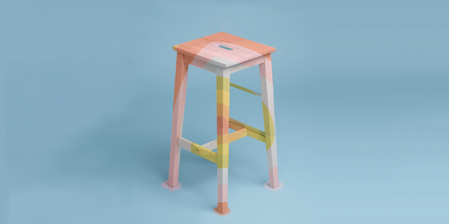 Image of a beige stool with an overlay of bright colours — both from Unsplash