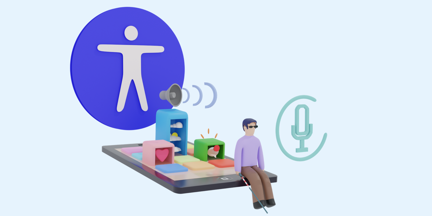 An illustration about accessibility, a blind man sitting on a phone and listening the applications