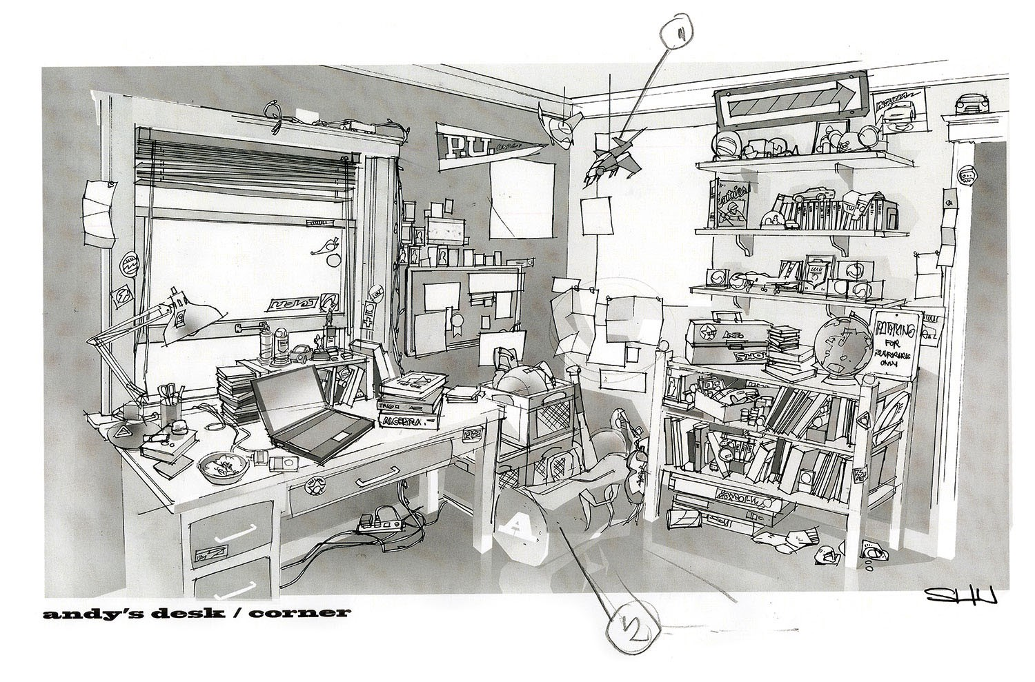 A sketch photo of Toy Story 4 showing Andy's desk