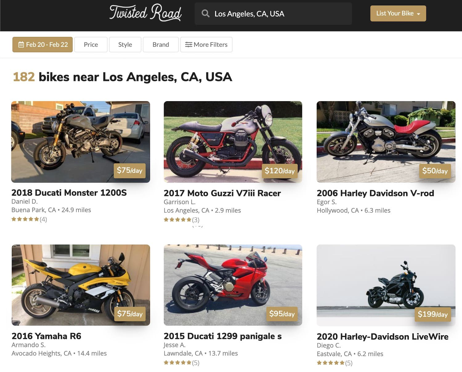Examples of motorcycles in Los Angeles you can rent on Twisted Road