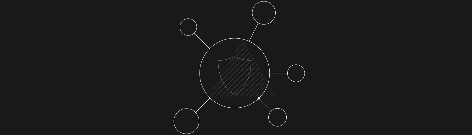 A graphic of a large circle with linked small circles with a shield in the middle