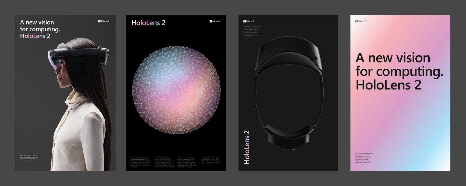 Four expressions of the HoloLens branding.