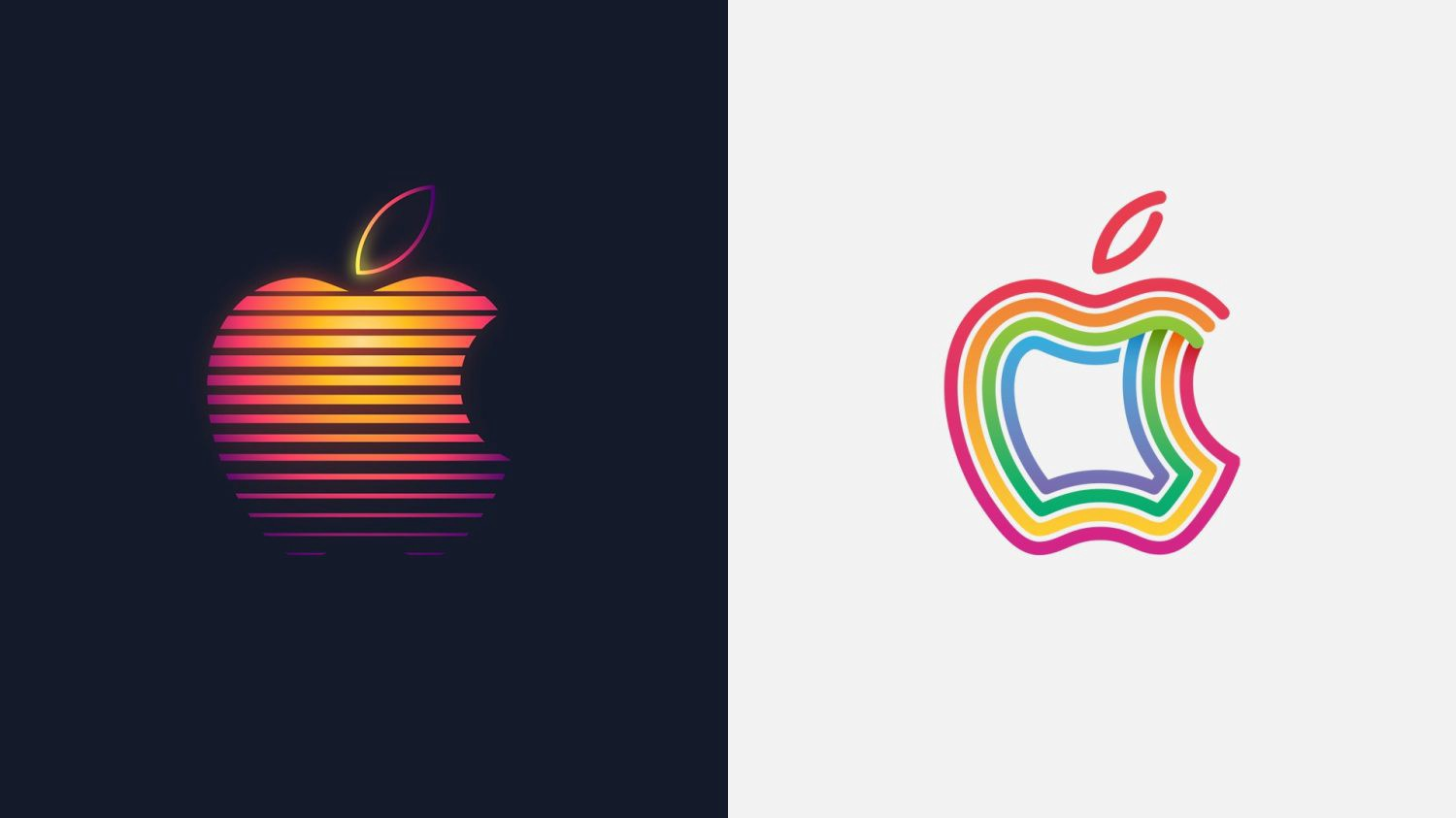 Two Apple Computer logos side-by-side, each stylized a different way.
