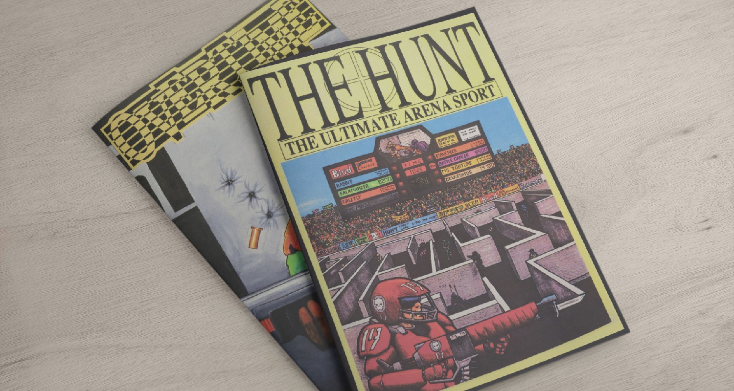 """The Hunt and Overtime in softcover. The Hunt's cover reads """"The Hunt, The Ultimate Arena Sport"""". The cover art features a profile images of a man wearing read body armor and helmet, holding a sci-fi rifle. In the background is a maze with grey walls. In the maze are multiple gunmen. Behind that are bleachers packed with fans. A scoreboard is above the bleachers. The cover of Overtime is obscured by the The Hunt book."""