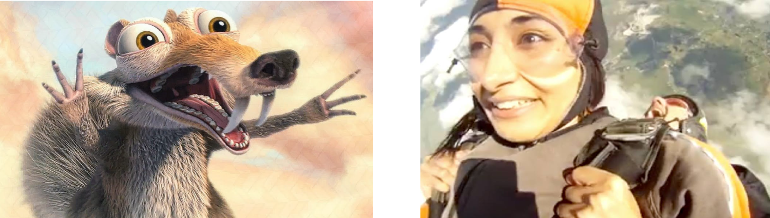 Two images showing the uncanny resemblance between Sarv and Scrat from Ice Age.