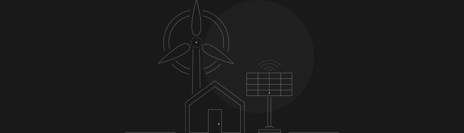a dark graphic of a house being powered by solar and wind power that have iot connectivity.