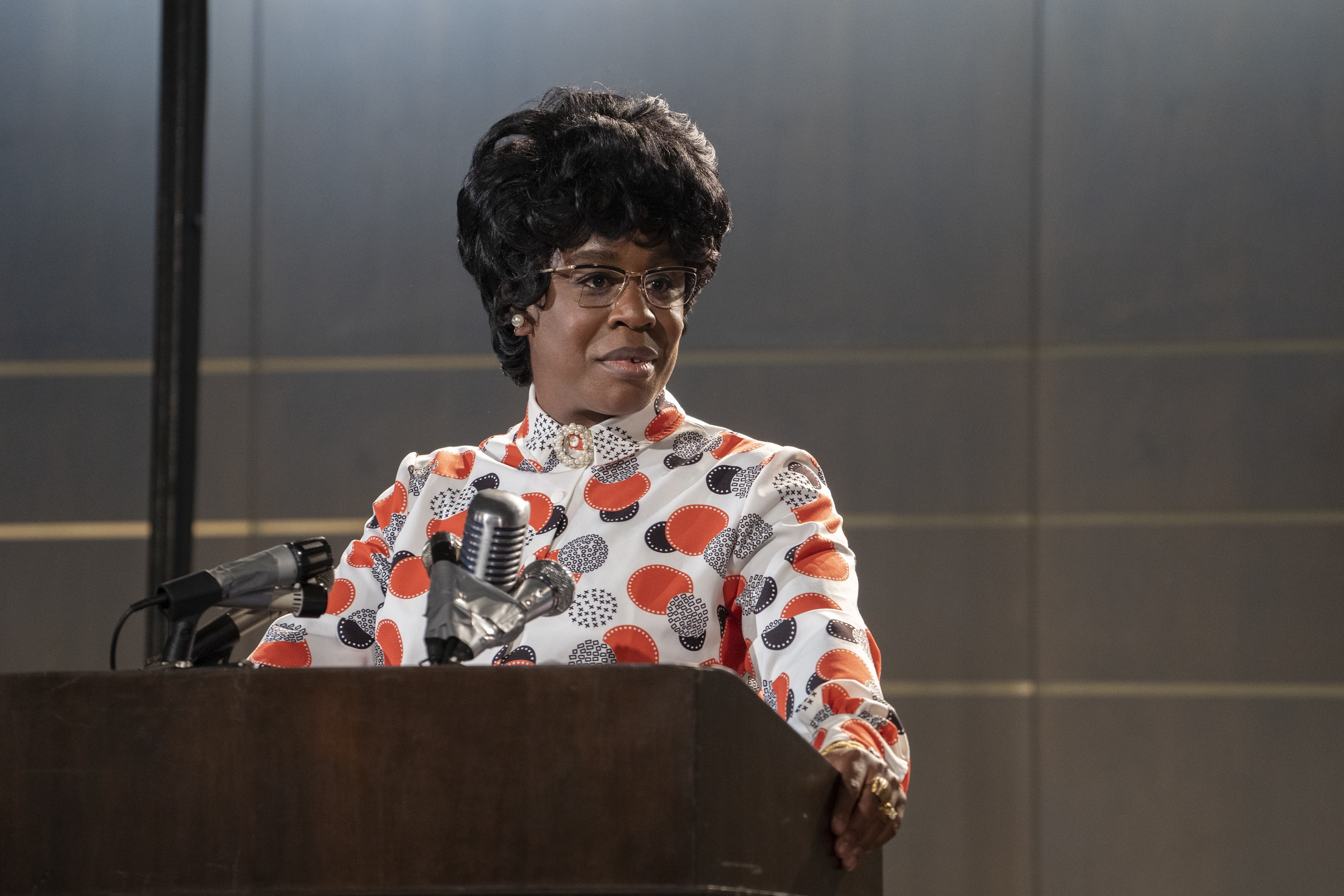 """A photo of Uzo Aduba as Shirley Chisholm on an episode of """"Mrs. America."""""""