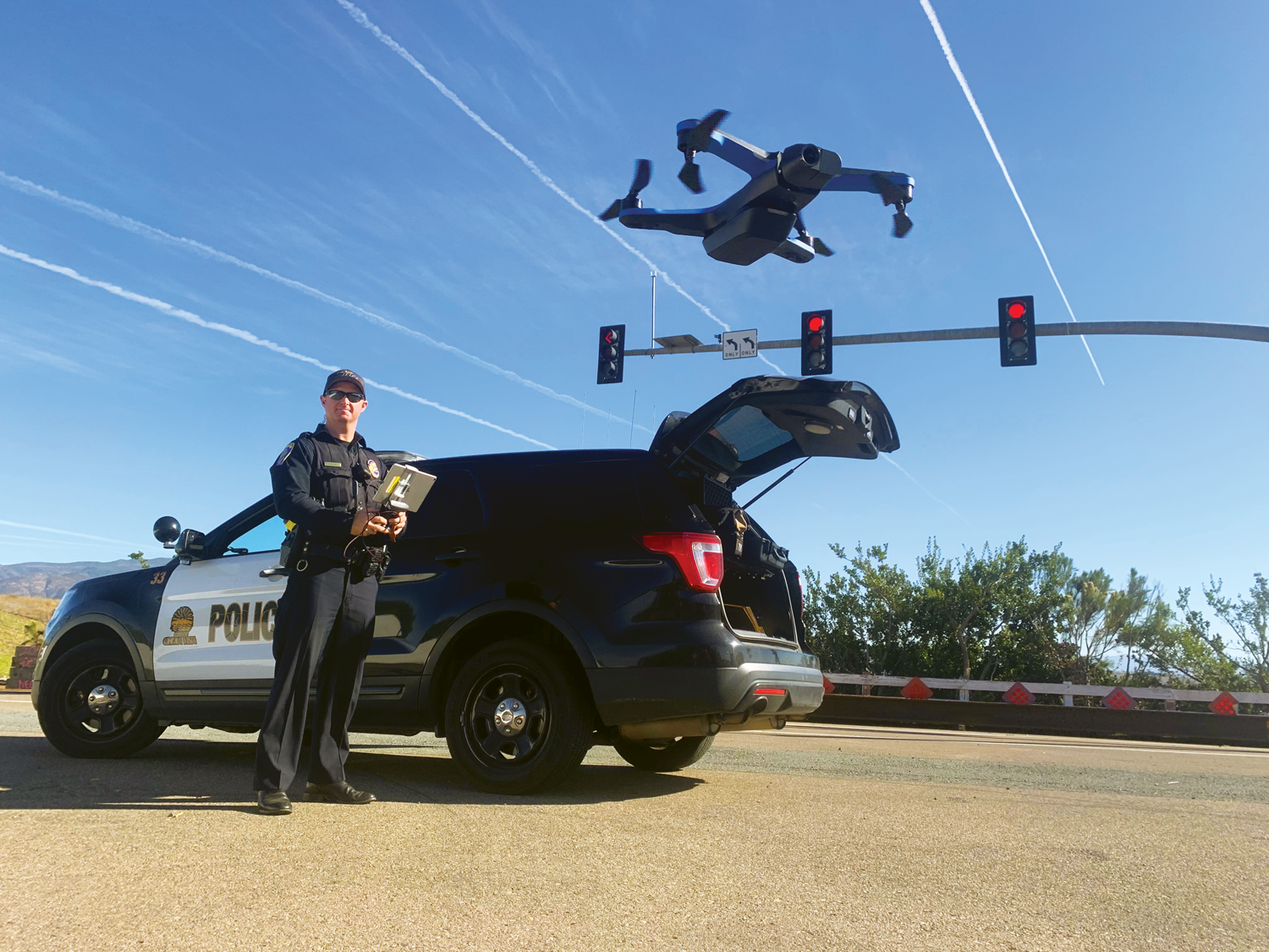 Photo of police use of a drone.
