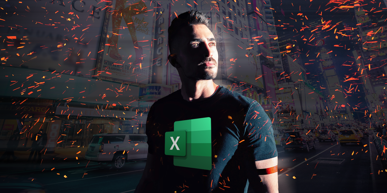 Person, city background and fireworks — all from Unsplash. Excel logo on the t-shirt.