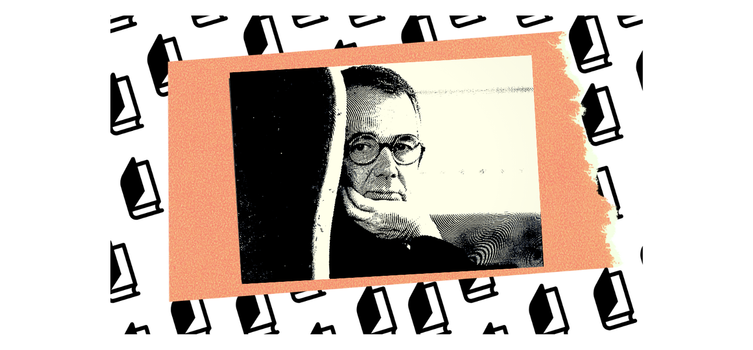 Collage of Joseph Epstein's author headshot on an orange square floating on a background of half-open books.