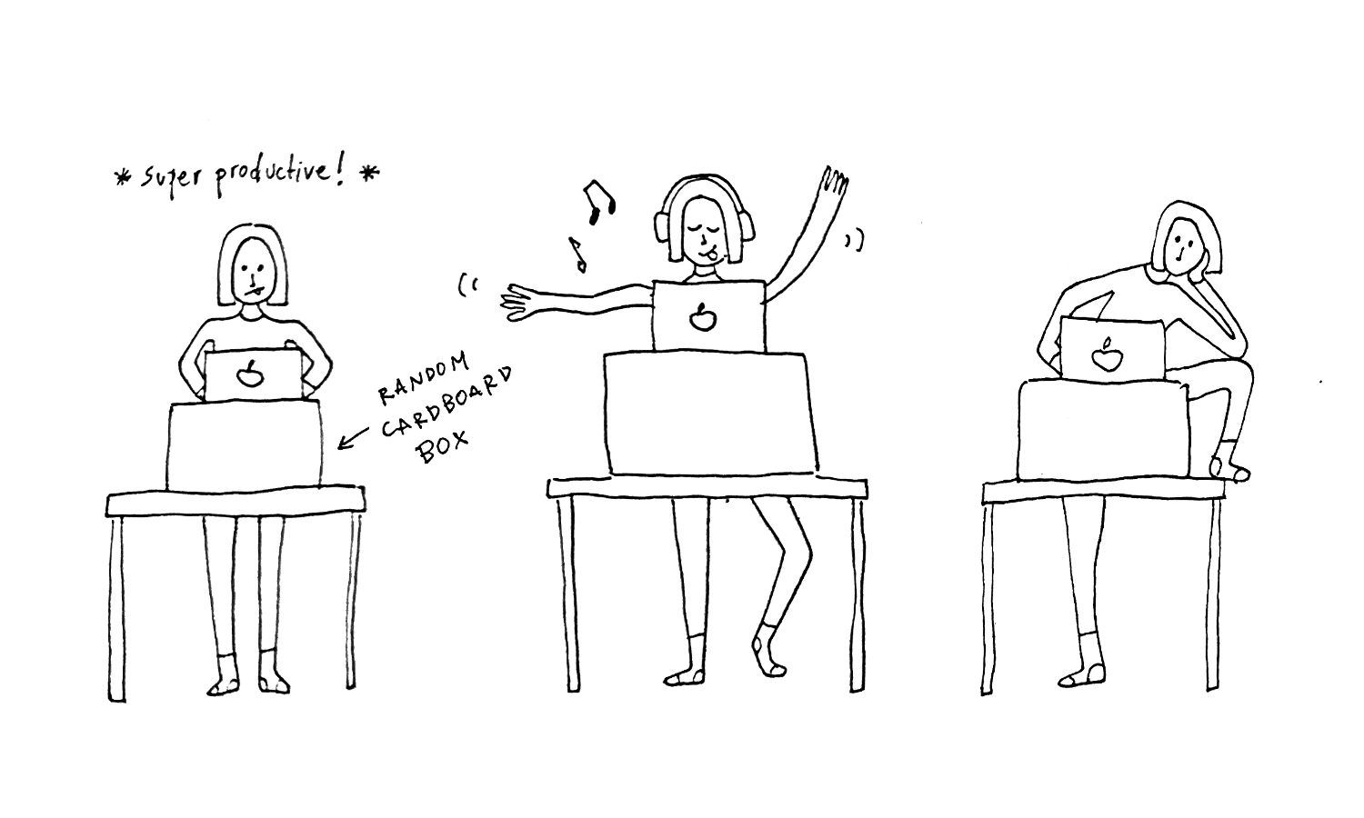 The author shows the benefits of not having a chair: standing while working, dancing while working, stretching while working.