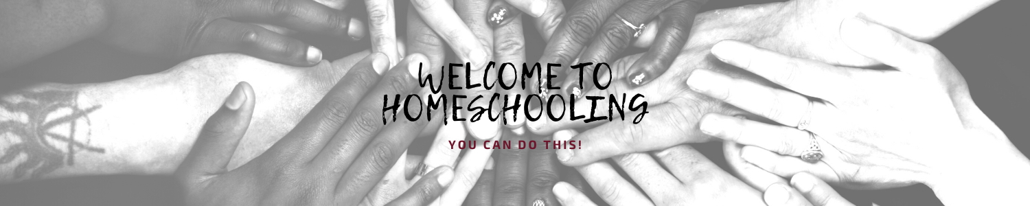 "Hands of many races crossing each other, in a sort of huddle, with the words, ""Welcome to Homeschooling, You Can Do This!"""