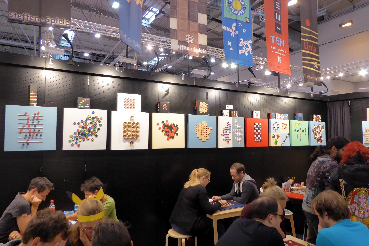 Abstract board games at the stand of Steffen Spiele (photo from 2018)