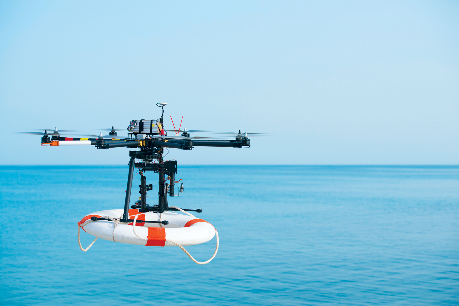 Photo of drone with life preserver.