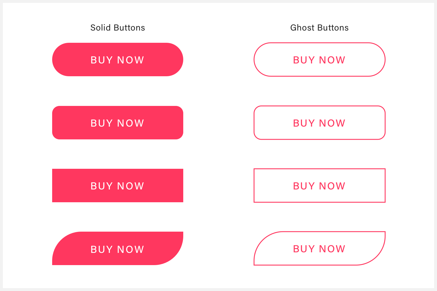 Several solid and ghost buttons that illustrate a call to action.