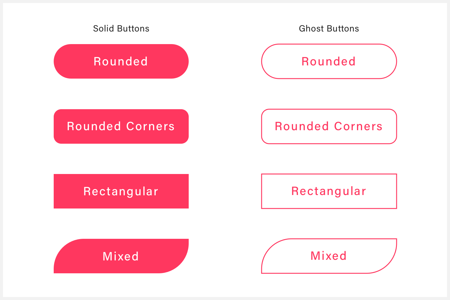 Several solid and ghost buttons that illustrate different button colors.