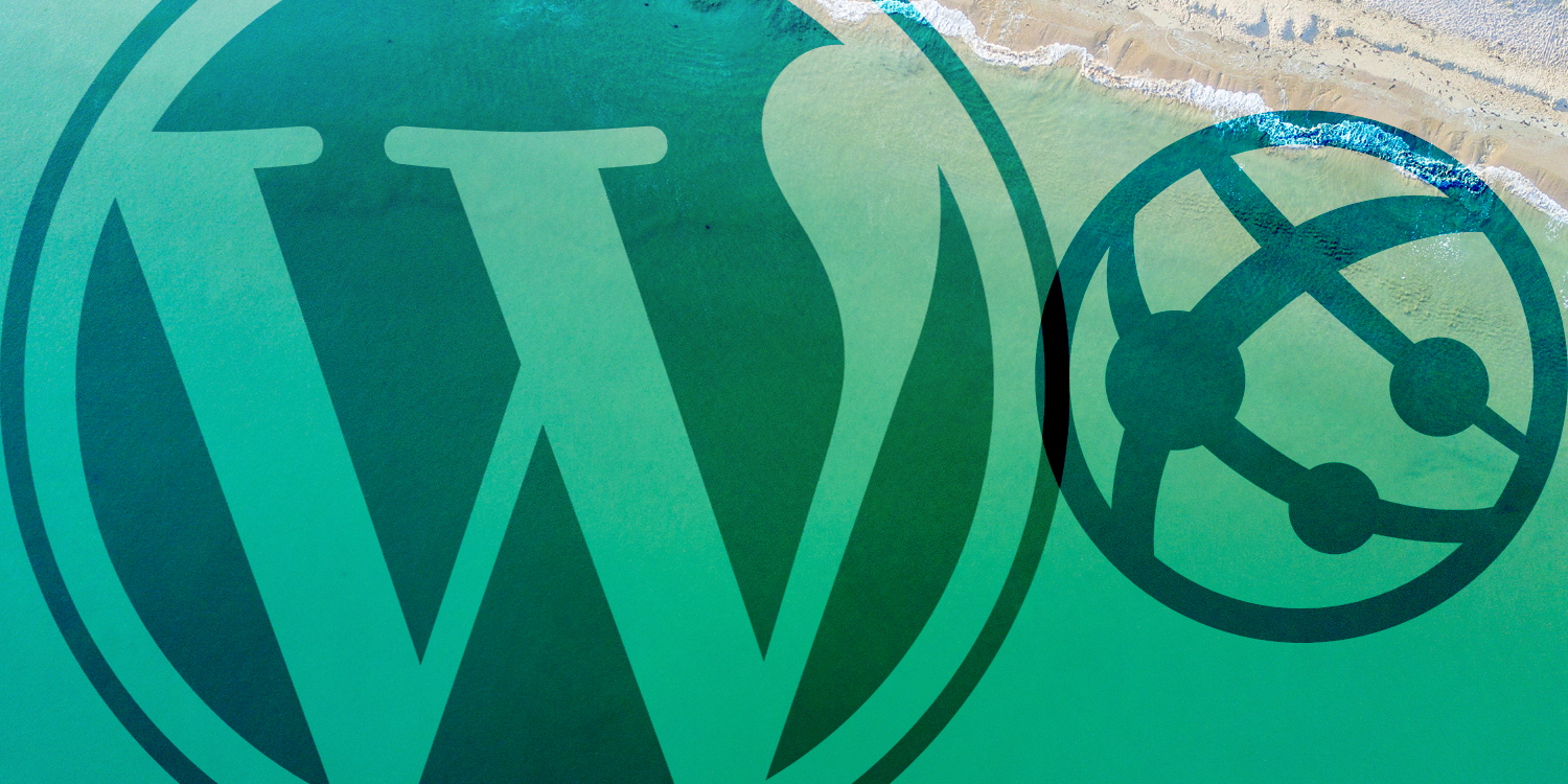 WordPress logo and an Azure App Service icon placed over a photo from Unsplash
