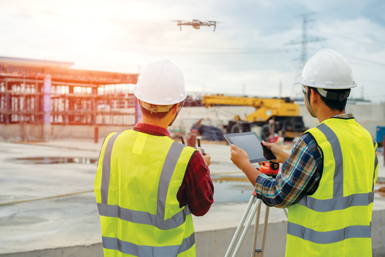 Photo of drone at construction site.