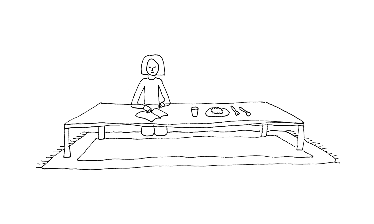 Another illustration of floor mats: the author reads a book while sitting on a mat near a low-level Japanese table.