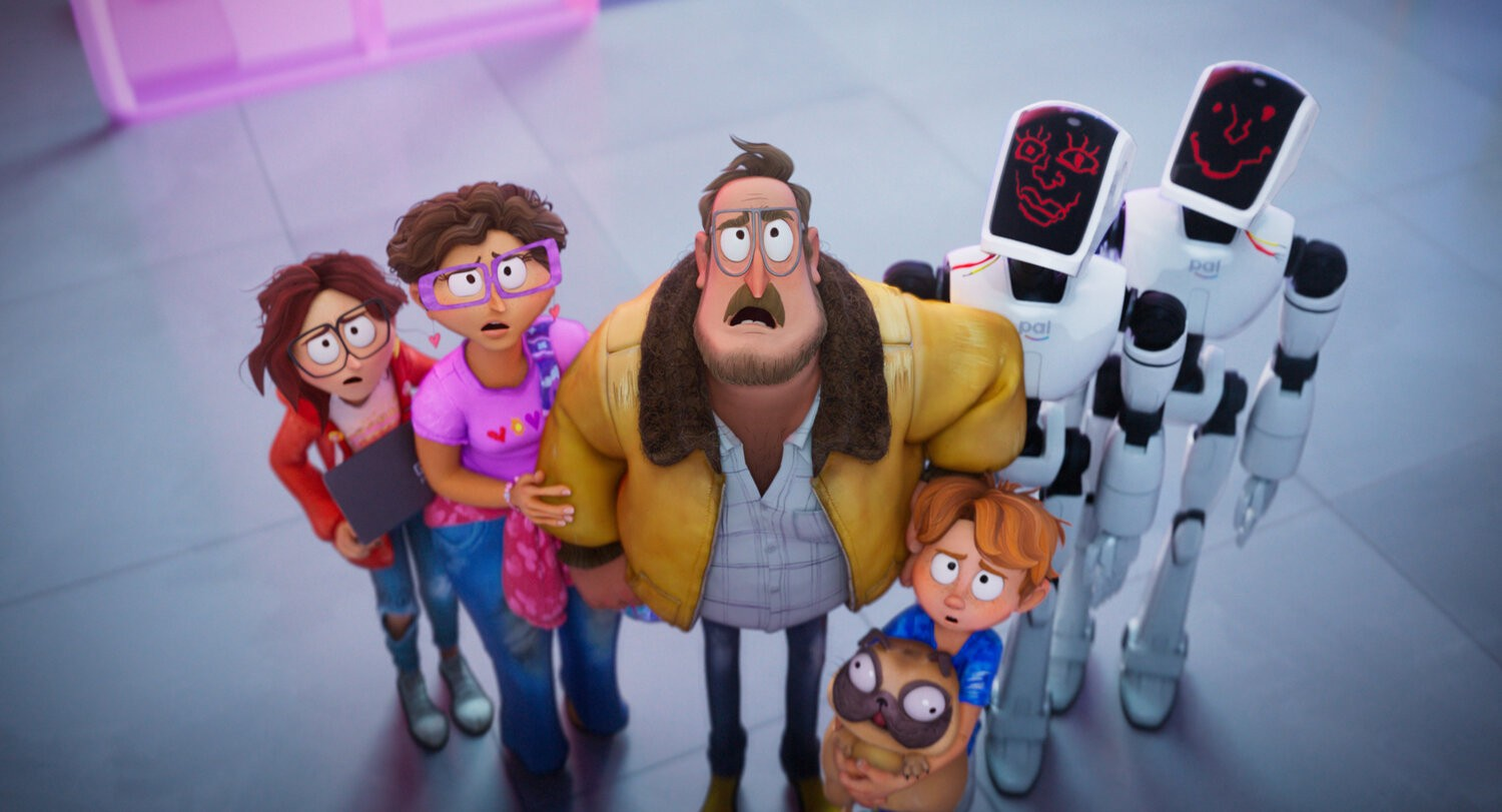 The family and two robots stare skyward in disbelief.