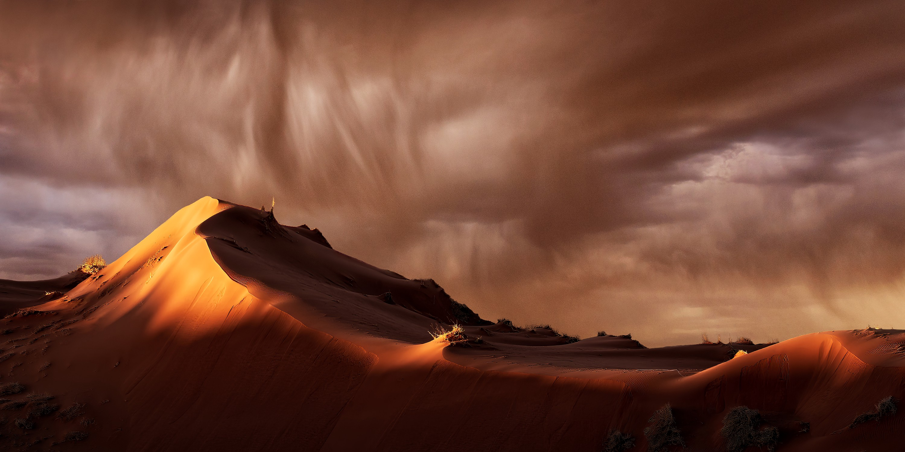 A fine art photograph of a windblown desert hill with a small flame coming from a barely visible camp