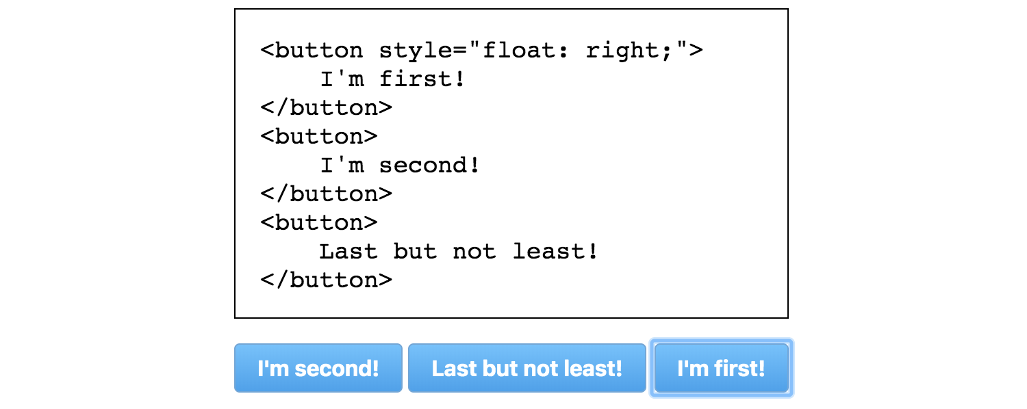 Code for three buttons and the resulting output in a browser, showing an unexpected focus order.