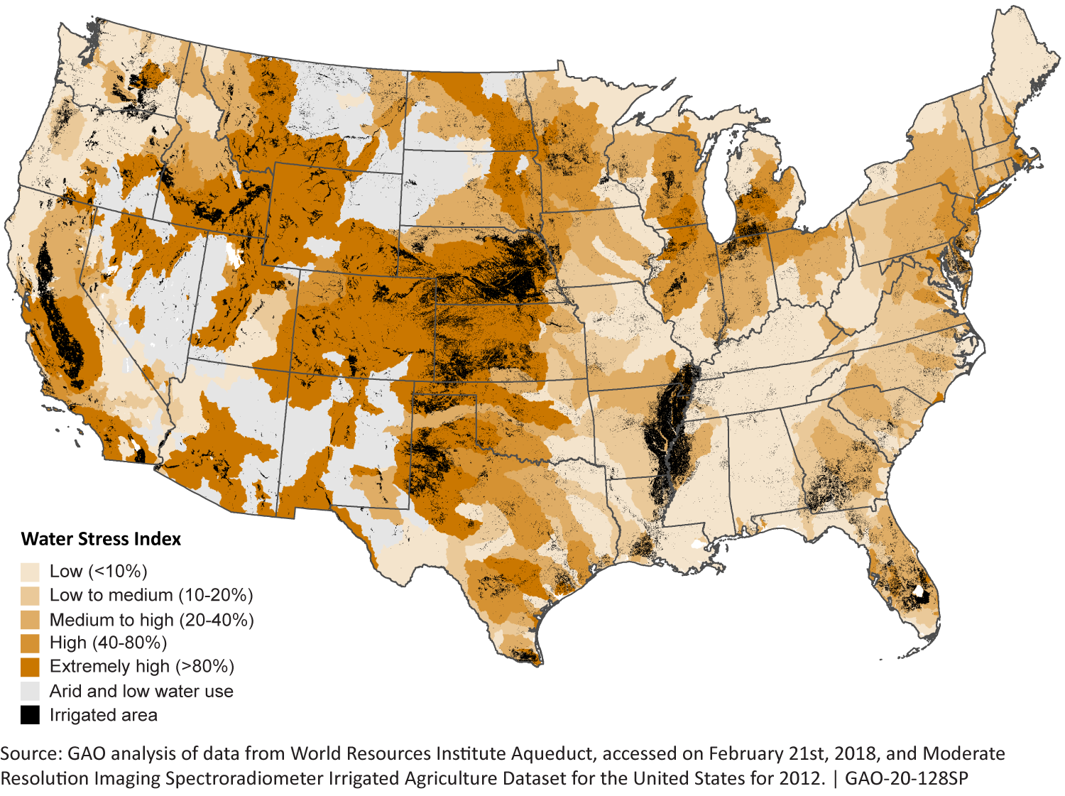 A map of the continental United States showing water stress and irrigation well locations.