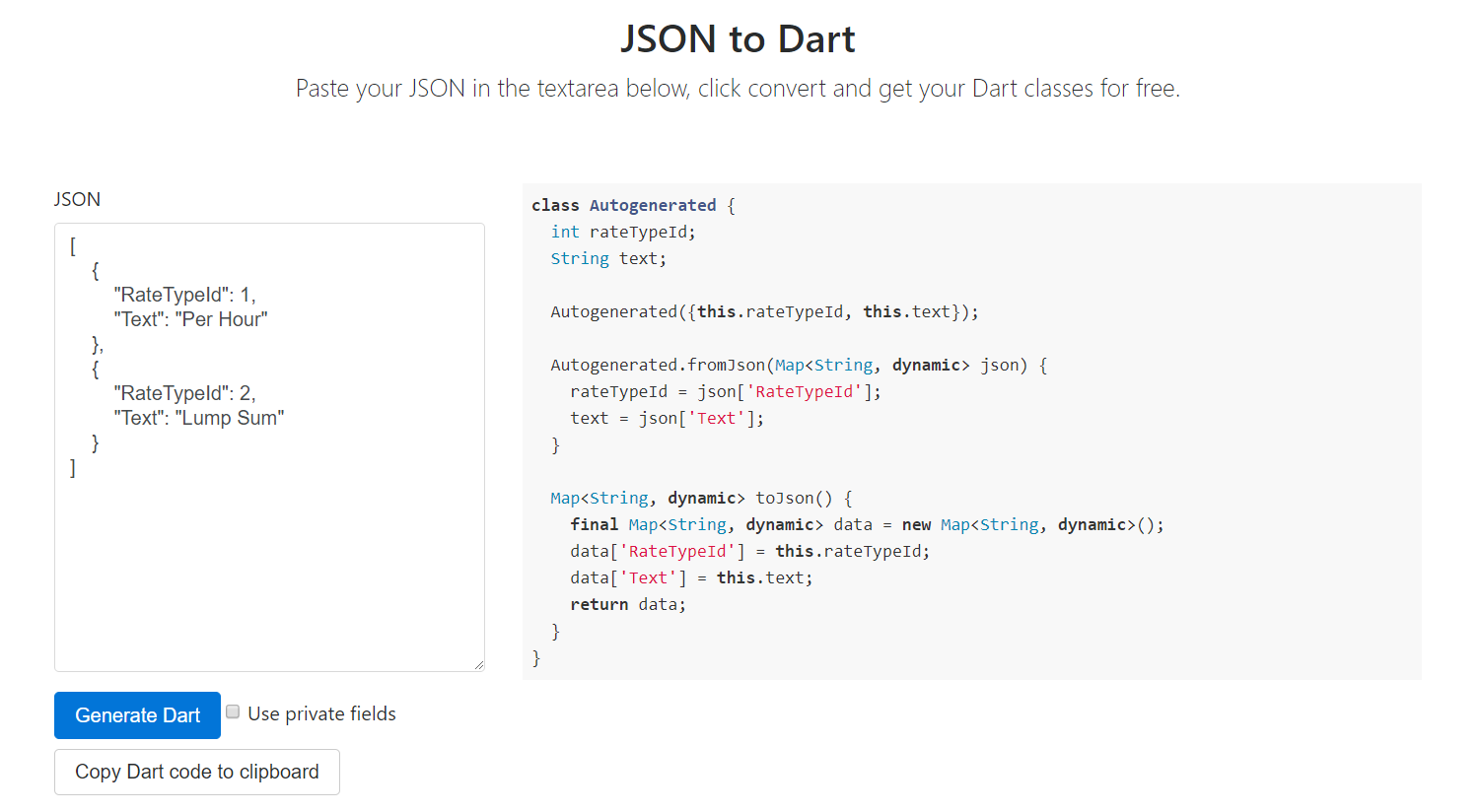 finally : a JSON to Dart Online class generator for the lazy me