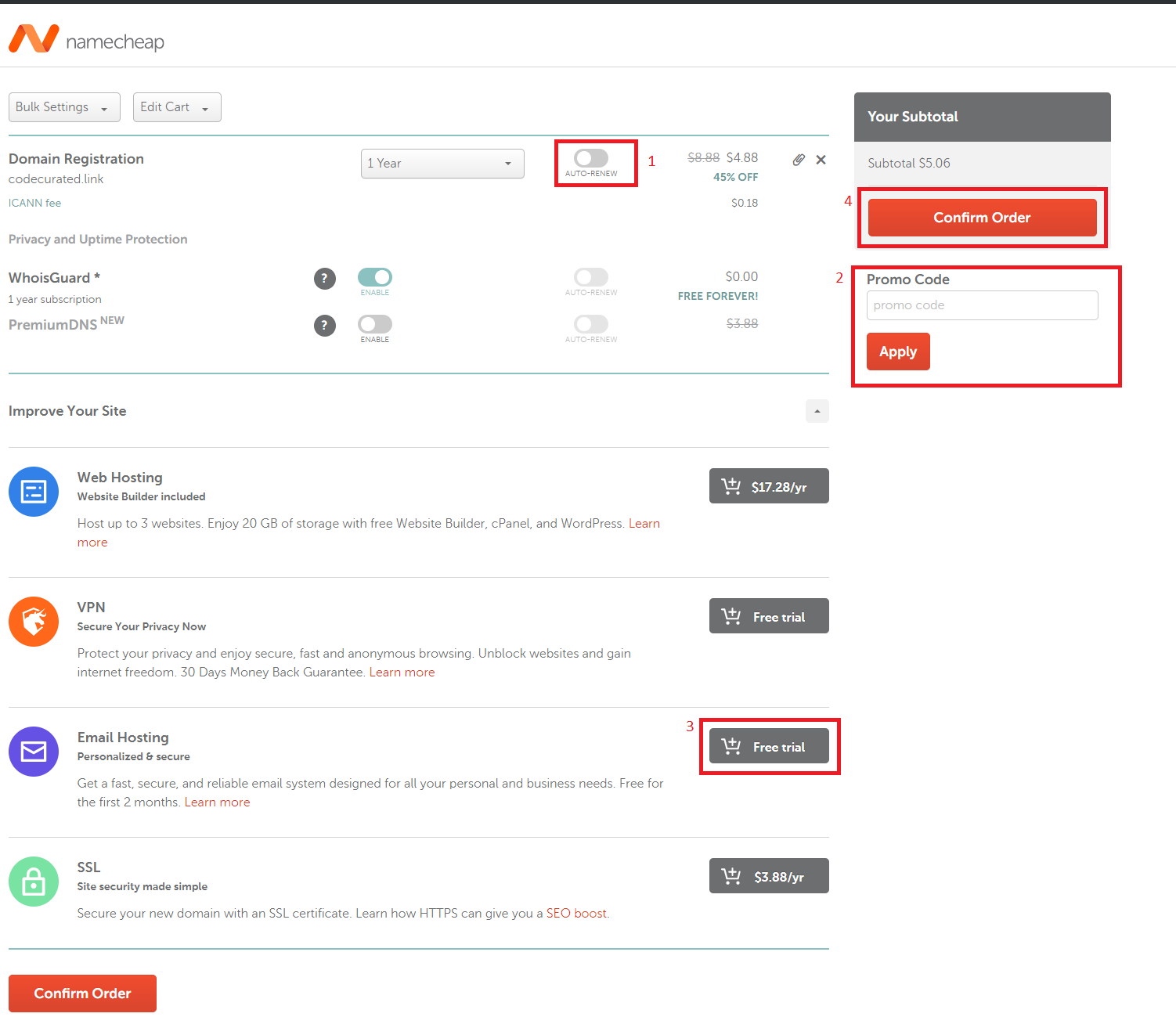 Checkout page on Namecheap for self-hosted Ghost