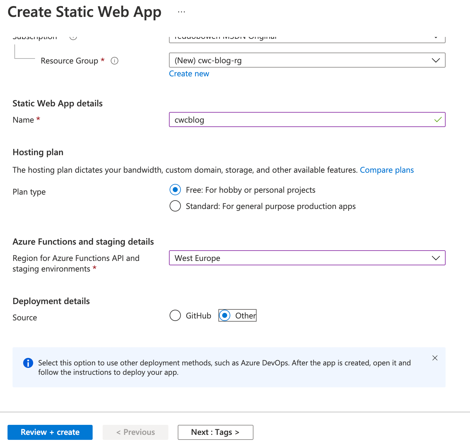 Screenshot of the Azure Static Web Apps creation process—part 3