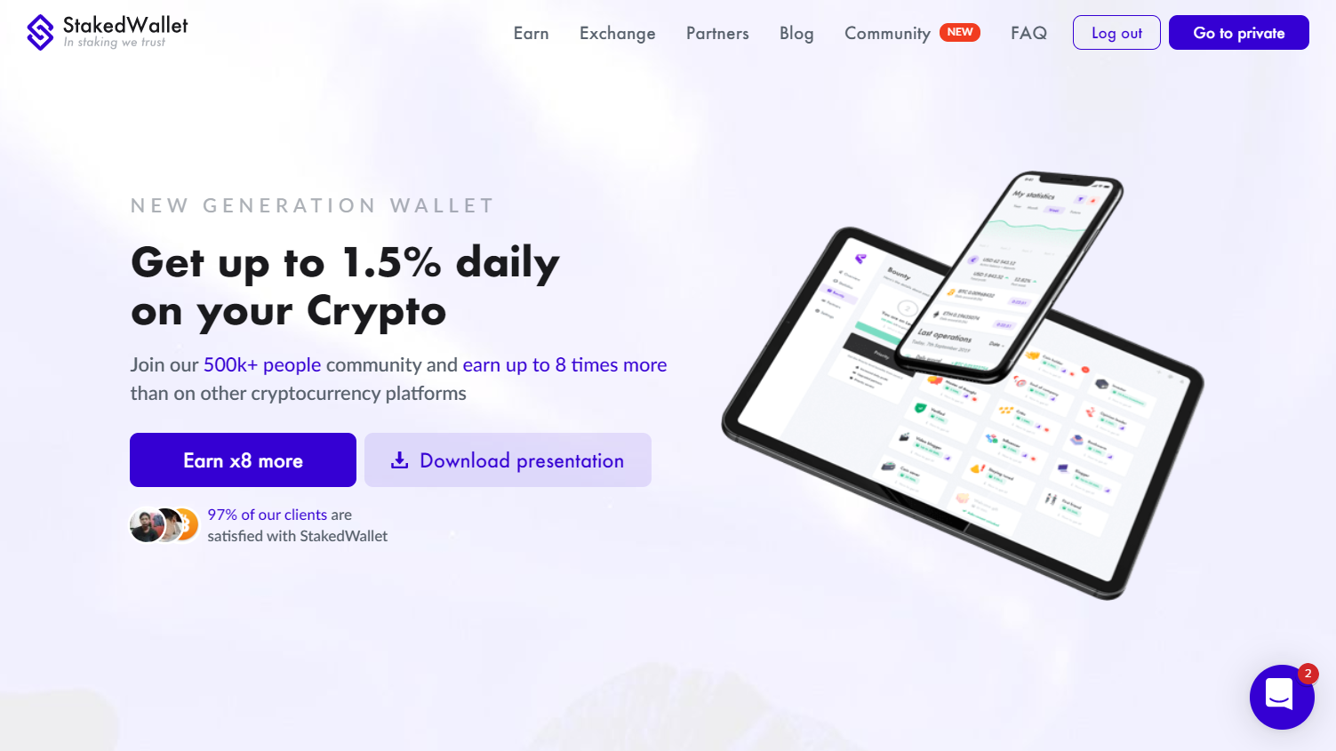 Screenshot of https://stakedwallet.io/