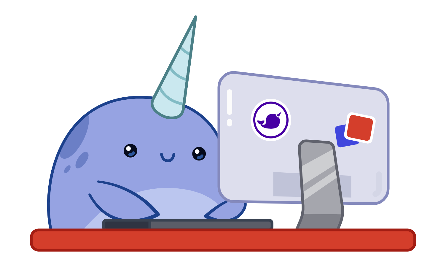 Illustration of Nellie the Narwhal at a computer.