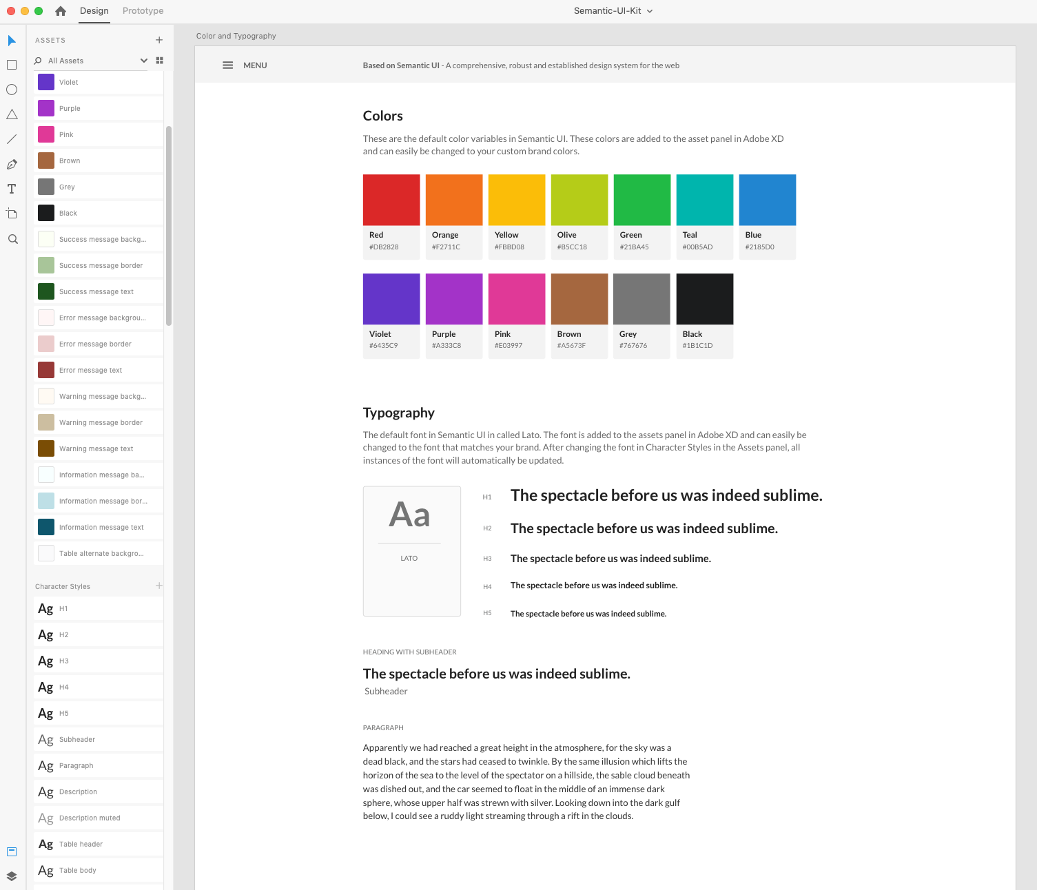 Designing a complete UI Kit for Adobe XD based on Semantic UI