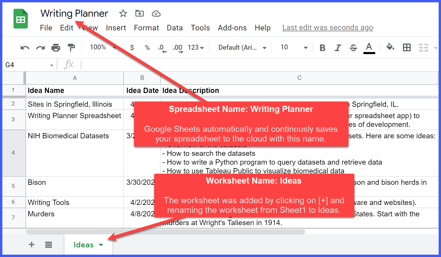 Writing Planner spreadsheet and Ideas worksheet in Google Sheets.