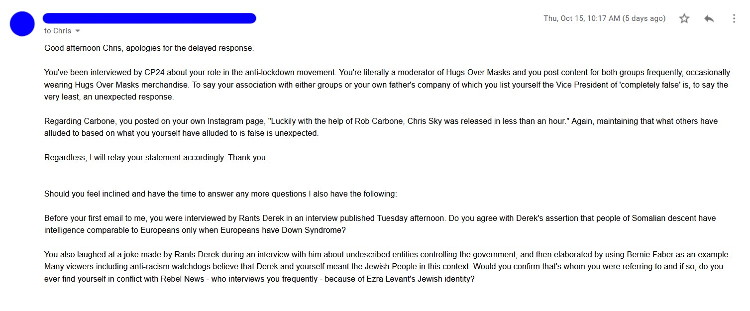 Email with detailed questions to Chris 'Sky' Saccoccia. Content is too long for image description.