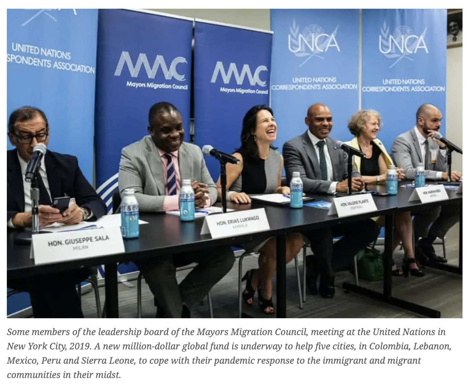 Six members the Mayors Migration Council's leadership board, meeting at the United Nations in 2019