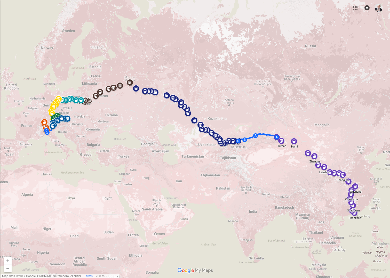 From Hong Kong to Berlin by train - Leo Weese 獅 草地 - Medium Map My Europe Trip on my country map, my weather map, my travel map,